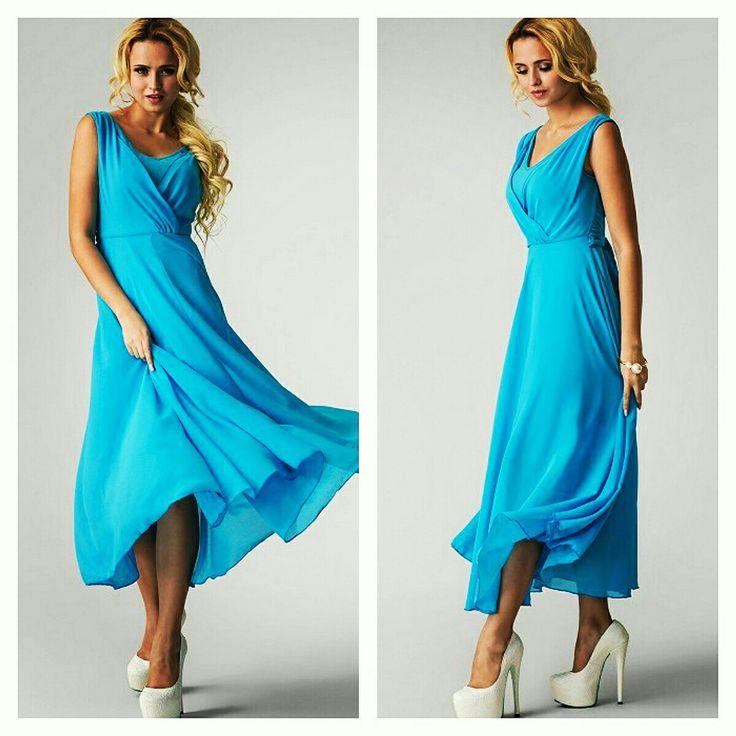 Kristina Sotnik #woman in a #blue #dress #fashion