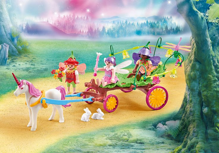 children fairies with unicorn carriage  9823  in 2020