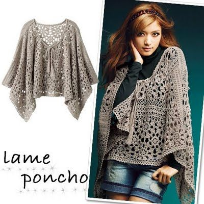 Lame poncho crochet pattern - this is, obviously, in another language or it's supposed to be lamé.