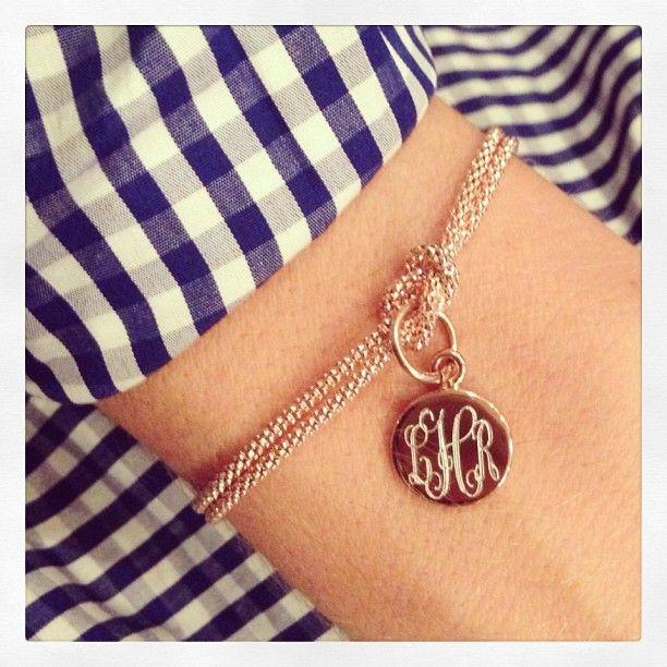 Monogrammed Square Knot Bracelet - Gold, Rose Gold, Sterling Silver