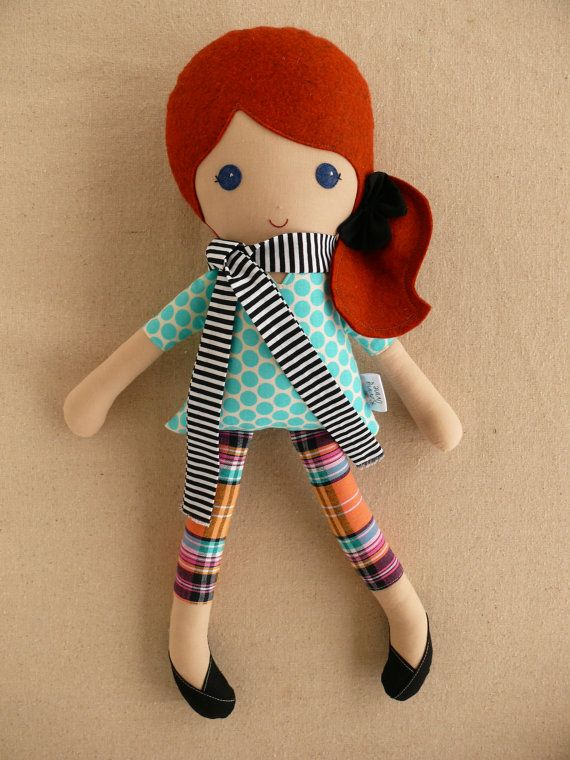 Fabric Doll Rag Doll Red Haired Girl in Blue Polka by rovingovine