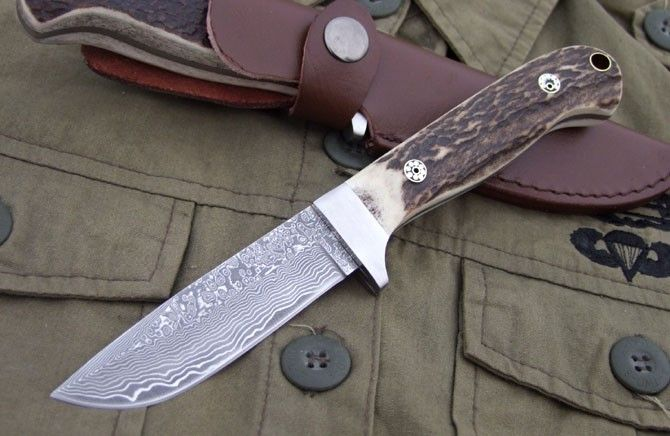damascus handmade knives | CK Damascus Stag hande Hunting Knife Handmade Knife