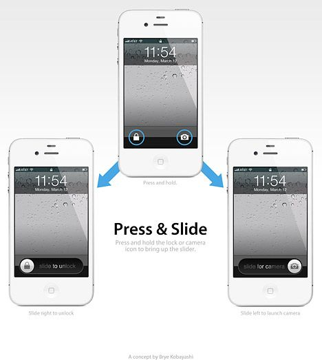 A designer's take on a better way to execute the iOS 5.1 lock screen.