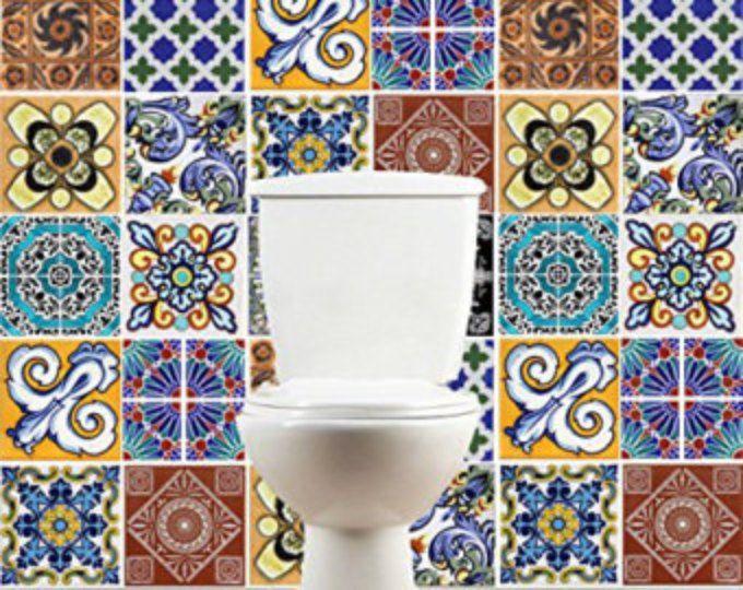 Adesivi per piastrelle, Talavera, Cucina, decalcomanie, piastrelle da bagno, rivestimenti pareti, Pack con 24, SKU:TAPATiles