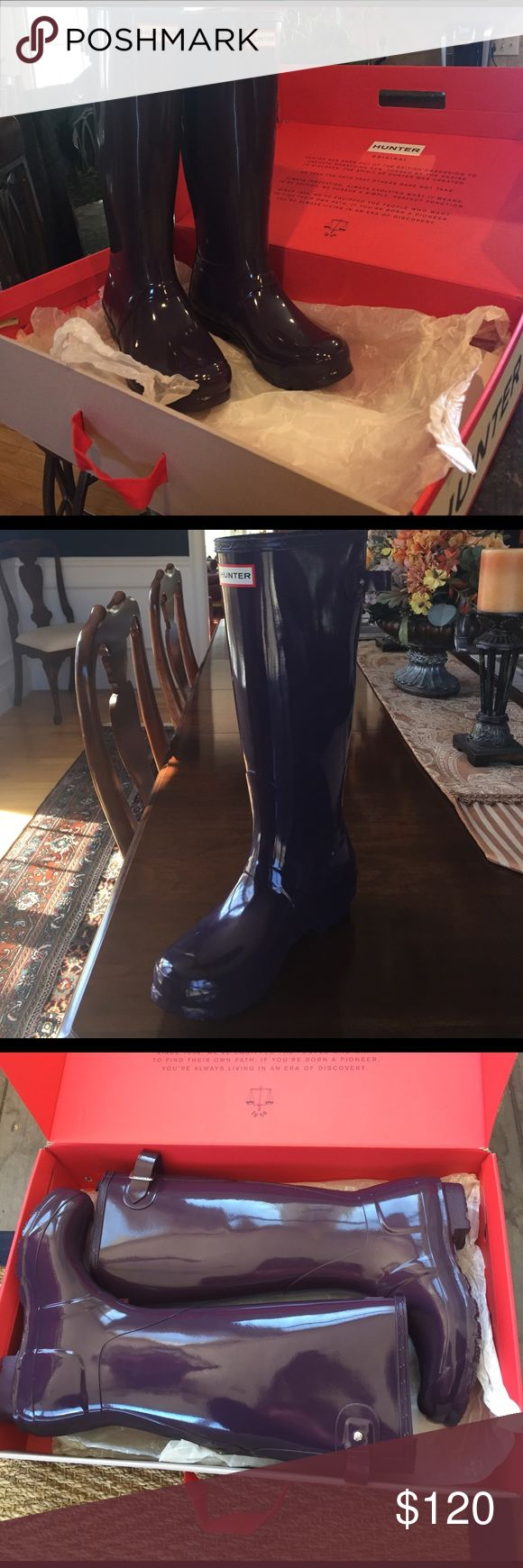 "Brand New Tall women's Hunter rain boots!! ""Purple Urchin"" BRAND NEW with box Tall Hunter rain boots! Hunter Boots Shoes Winter & Rain Boots"