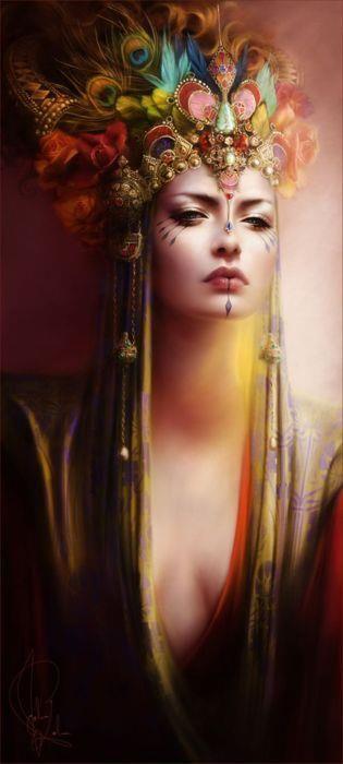 by Melonie Delon. Fantasy art. Female, goddess, queen, princess, empress.
