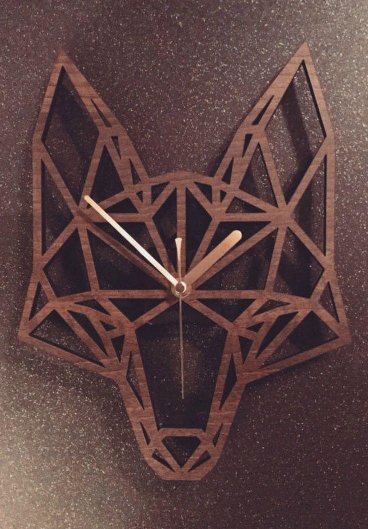Geometric Fox's Head Clock found on etsy #ad #Etsy #fox