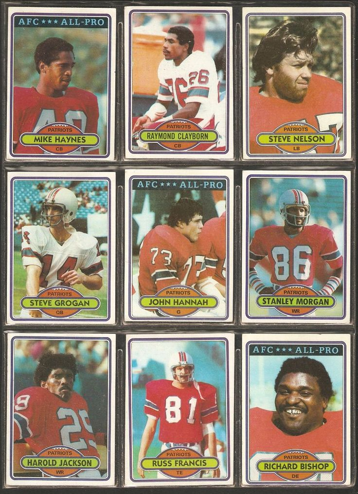 1980 Topps New England Patriots Team Lot Steve Grogan John Hannah Mike Haynes Raymond Clayborn