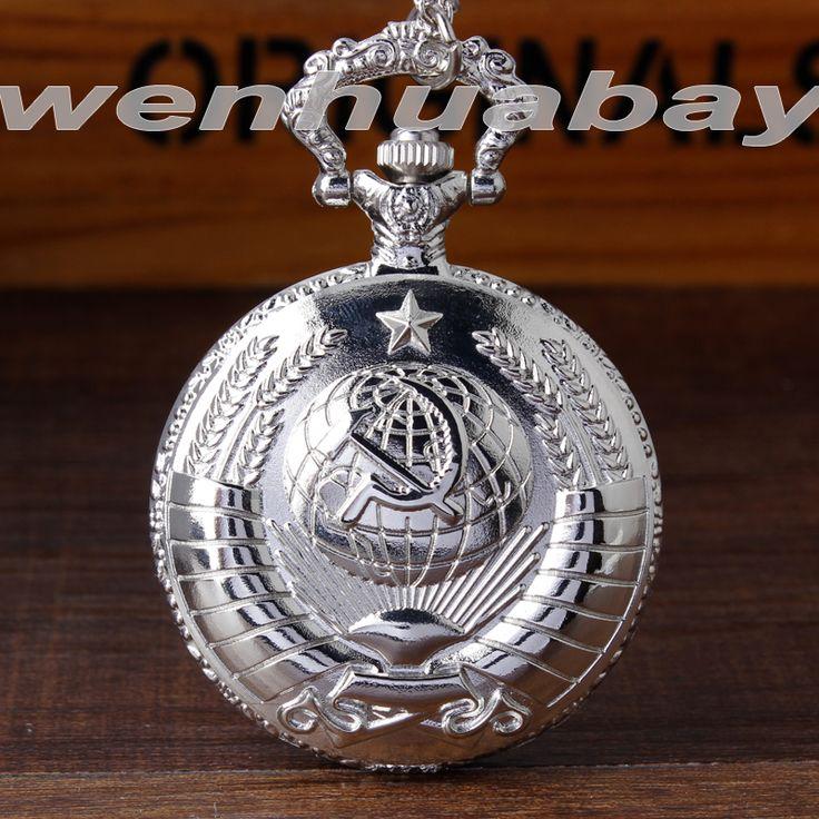 Vintage Soviet Sickle hammer Silver Pocket Watch Necklace 2016 Mens Watches Black orologio taschino chain women Quartz reloj