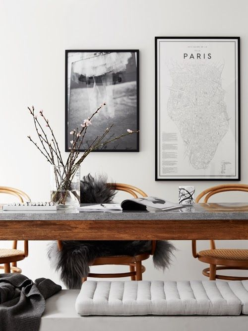 Nordic dining room. Wooden table with a concrete top