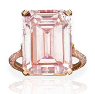 Fred Leighton - 14.23 carat Emerald Cut Pink Diamond Ring in Rose Gold Setting