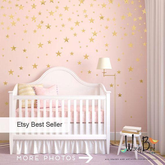 Gold Stars Wall decals Set, Gold Confetti Stars, Baby Nursery Wall Decor, Star Decals, Gold Wall Decals