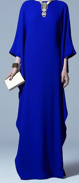 Mom made a few Kaftans as fancy as this style to wear out to special occasions, with lovely jewelry.  (ELIE SAAB Pre-Fall 2013 | Would perfectly go with #Hijab):