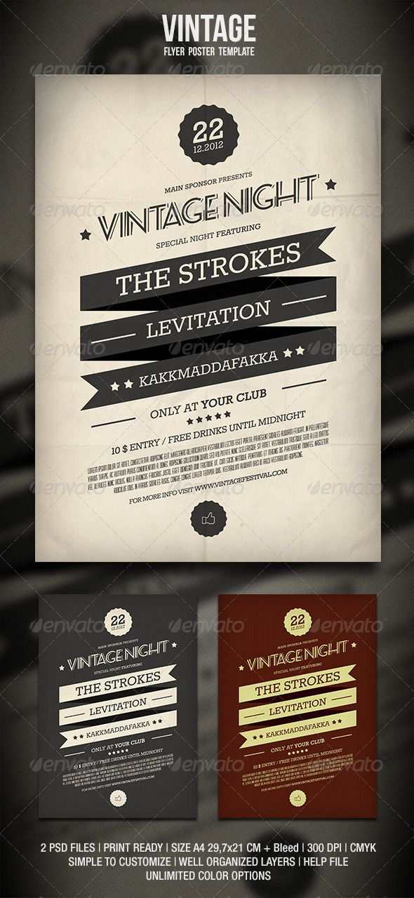 Vintage Flyer / Poster 2 — Photoshop PSD #event #band • Available here → https://graphicriver.net/item/vintage-flyer-poster-2/3394861?ref=pxcr