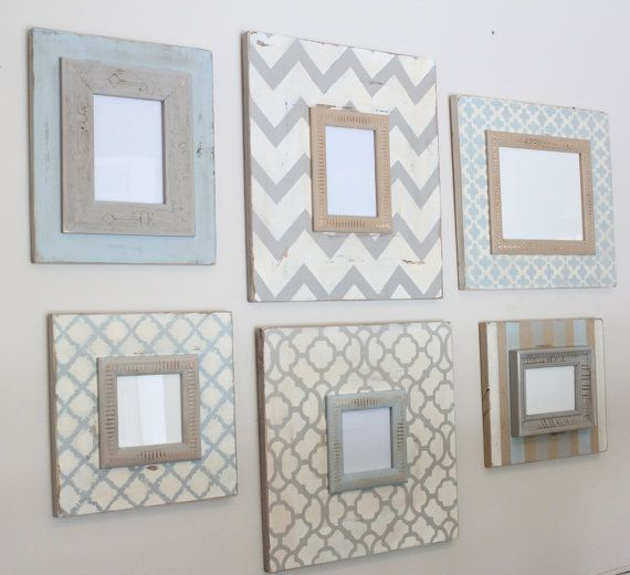Wall Grouping of Distressed Picture Frames Handmade,Hand Painted: Blue,Grey,Cream and Taupe via Etsy