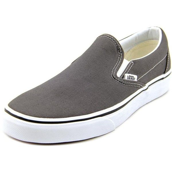 Vans Classic Slip-on Women Sneakers ($35) ❤ liked on Polyvore featuring shoes, sneakers, grey, grip trainer, pull on sneakers, slip-on shoes, grey slip on sneakers and grey slip on shoes