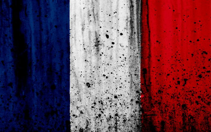 Download wallpapers flag of France, 4k, grunge, stone texture, French flag, Europe, France, national symbols, France national flag