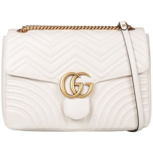 Gg Marmont Large Shoulder Bag ($2,015) ❤ liked on Polyvore featuring bags, handbags, shoulder bags, bianco, gucci shoulder bag, shoulder bag purse, shoulder hand bags, gucci purse and white handbag