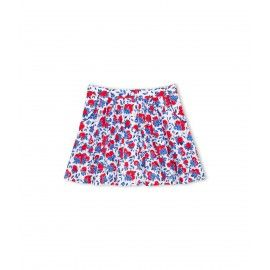 Skirt above the knee with red lemons print, adjustable elasticized waistband on the inside, fastening on the front with press buttons. Pleats at the front and the back, two piped pockets on the front side. The bottom width of the skirt lies between 120 and 140 centimeters.