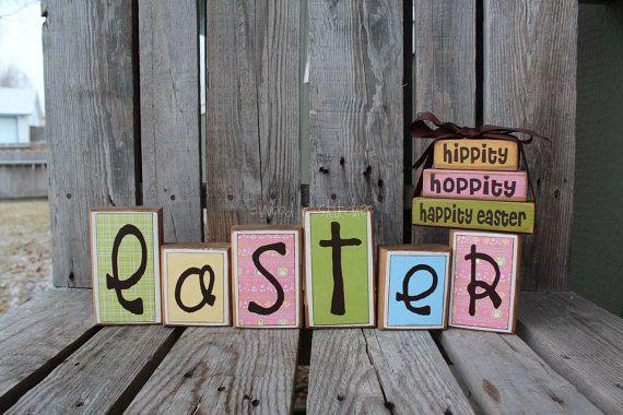 Easter Wood Block Set home seasonal spring easter bunny egg chick gift personalized shelf sitter primitive block set