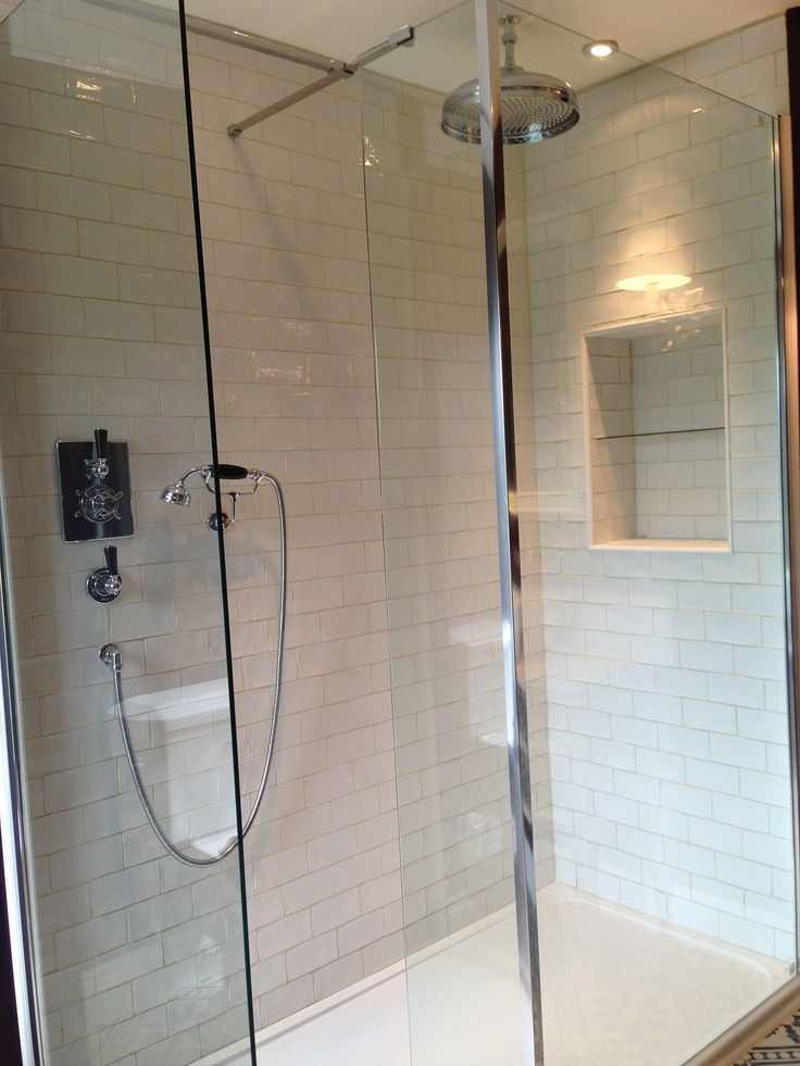 Walk-in shower. Lefroy Brook Brassware. By Cotton Tree Interiors