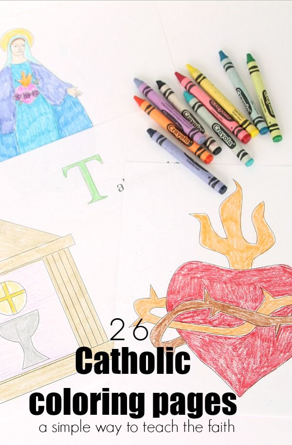 26 Catholic Coloring Pages, one for each letter of the alphabet.  Use these pages as a simple, natural way to share the faith with your children.  The pages are ready to print and use!  Click through to get them.