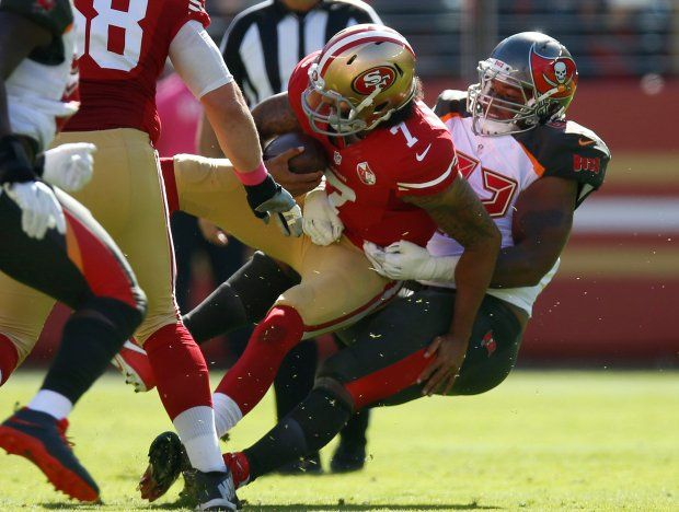 Buccaneers vs. 49ers:     October 23, 2016  -  34-17, Buccaneers  -   San Francisco 49ers starting quarterback Colin Kaepernick (7) is sacked by Tampa Bay Buccaneers' William Gholston (92) in the first quarter of an NFL game at Levi's Stadium in Santa Clara, Calif., on Sunday, Oct. 23, 2016. (Nhat V. Meyer/Bay Area News Group)