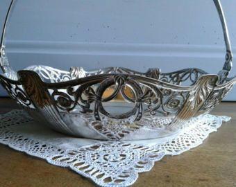 Piuttosto d'epoca francese d'argento placcato cesto, frutta / pane panier, tavolo centrotavola, decorazioni per la casa francese.