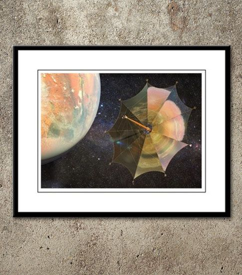 Solar Sail Johannes Kepler leaving Mars orbit for a trip to the Moons of Jupiter. The terraformed planet is reflected in the shine surface of the giant sail. Large framed print, $44.99