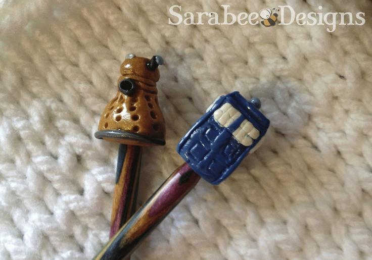 Tardis and Dalek Poke-Me-Knots-- Large. $7.00, via Etsy.