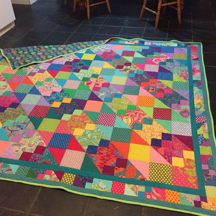 "Melanie's quilt I made Sept 14 - Sept 15 ""Hocus Pocus a truly magical quilt  Adapted from Jiggery Pokery - Kaffe Fassett."