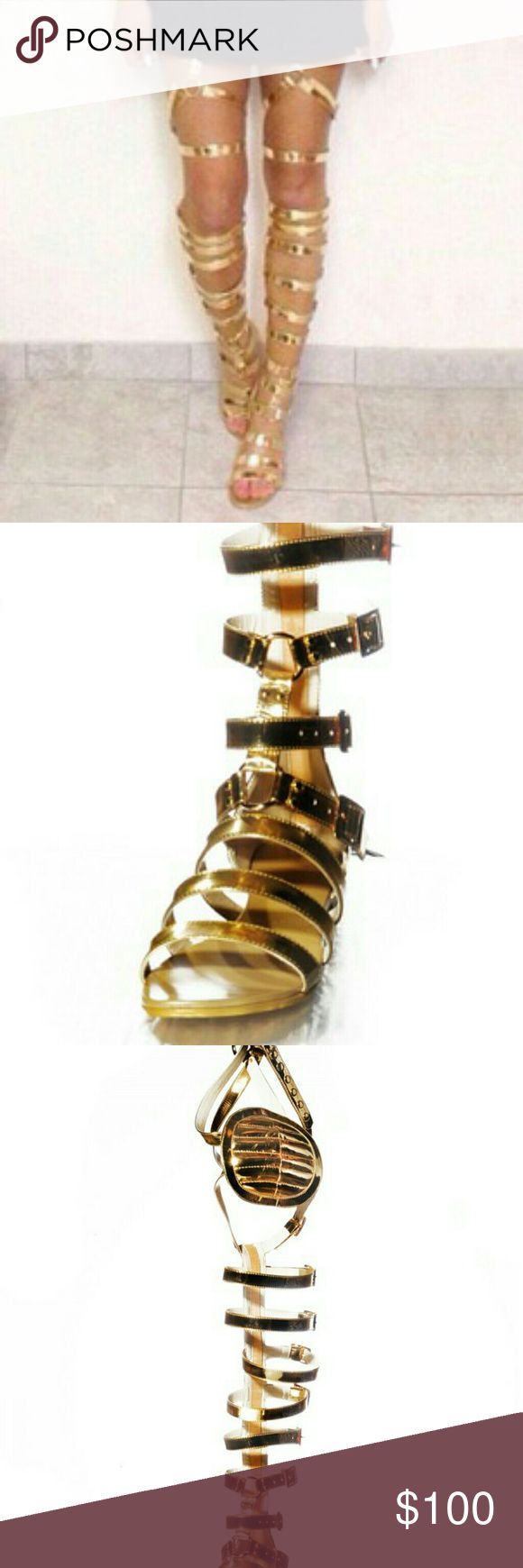 Hans Von Lila  GOLD PATENT LEATHER SANDAL/BOOTS These are FIERCE  HANS VON LILA GOLD GLADIATOR BOOTS/SANDALS.    VERY GENTLY USED.  Only worn once or twice. Hans Von Lila Shoes Lace Up Boots