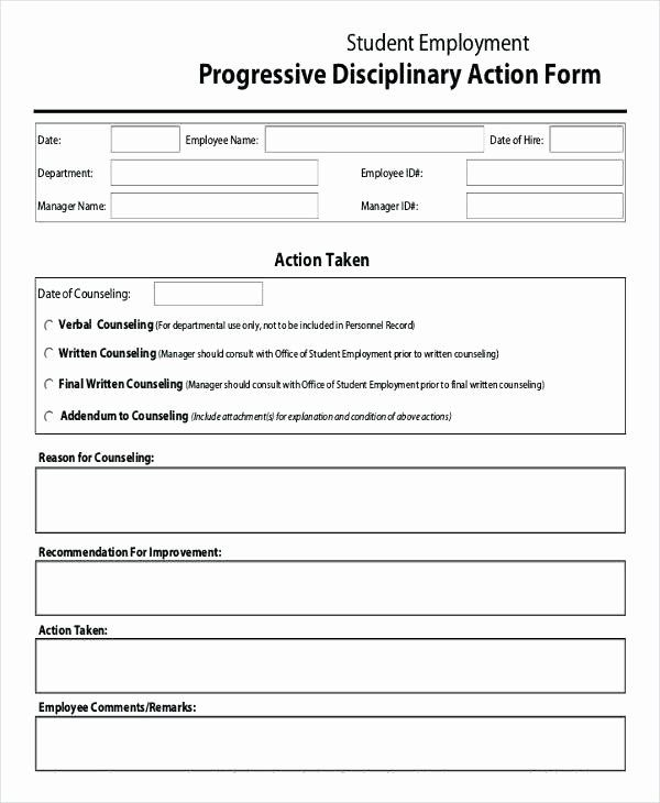 Progressive Discipline Form Template Beautiful Employee