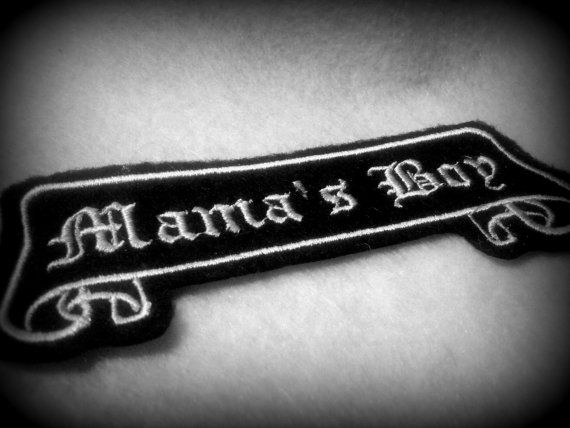 Tattoo Name Patch old english Mama's Boy by lizmiera on Etsy, $3.75