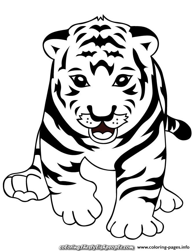 great print tiger child coloring pages