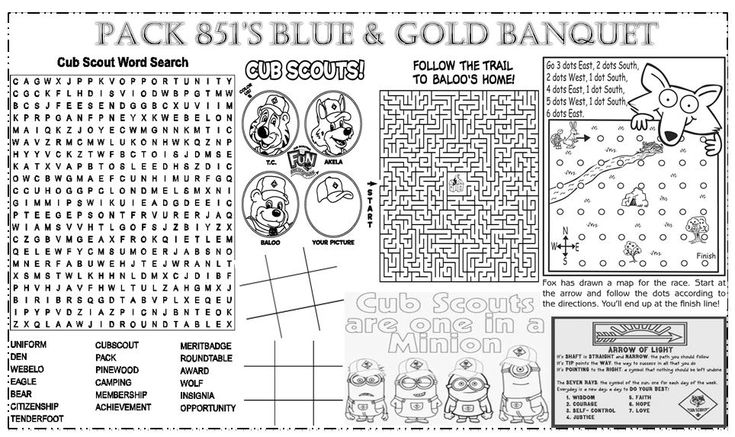 Placemat I created for our Blue and Gold Ceremony