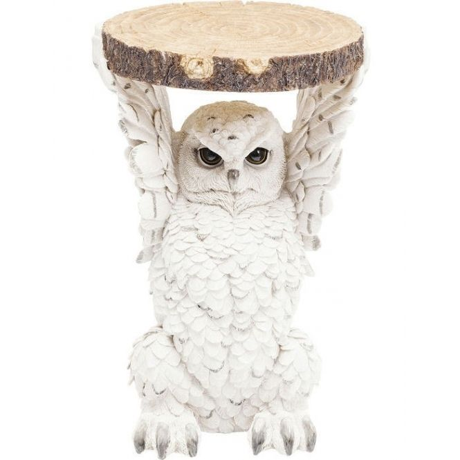 Hurn & Hurn Discoveries Snowy Owl Holding Tree Trunk Slice - Side Table