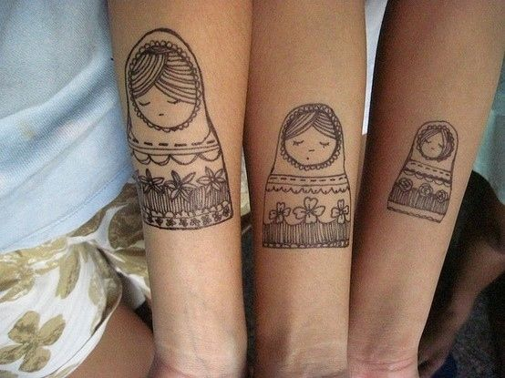 I LOVE these nesting doll tattoos. 74 Matching Tattoo Ideas To Share With Someone You Love