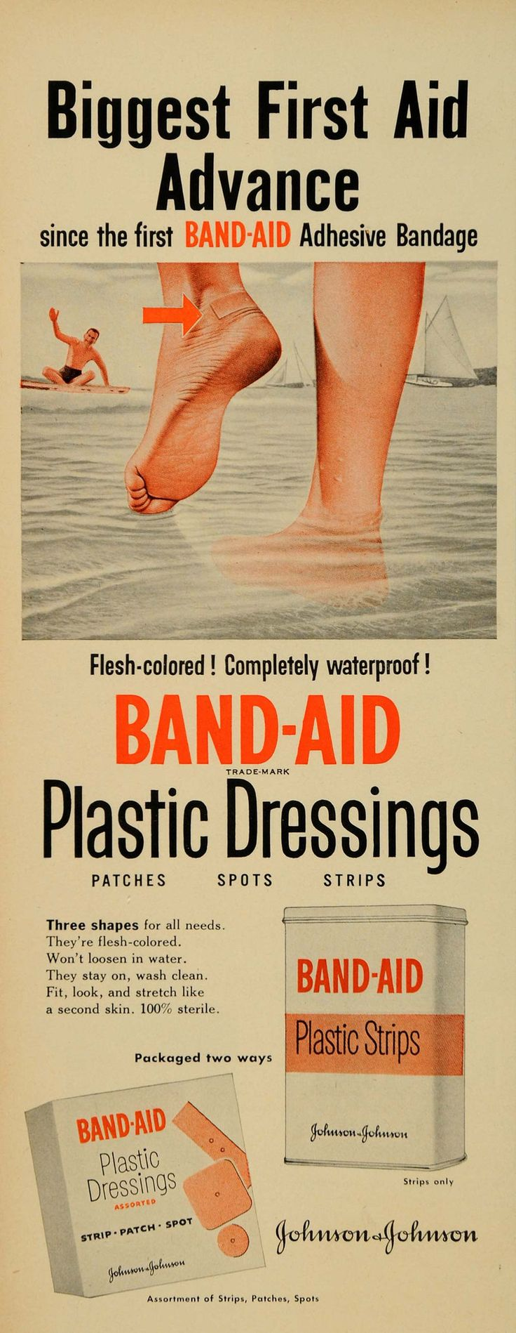 1952 Ad Band-Aid Plastic Strips Dressings First Aid - ORIGINAL ADVERTISING LF3
