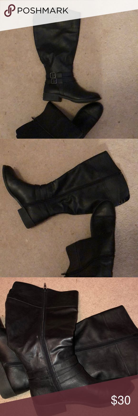 Black riding boots. Size 8.5 wide American Eagle Wide calf boot. Black riding boot style. Size 8 1/2 wide. Barely worn. American Eagle Outfitters Shoes Combat & Moto Boots