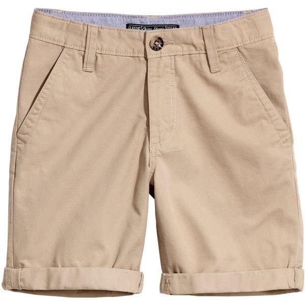 Chino Shorts $17.99 ($18) ❤ liked on Polyvore featuring shorts, elasticated waist shorts, zip shorts, beige shorts, zipper shorts and elastic waistband shorts