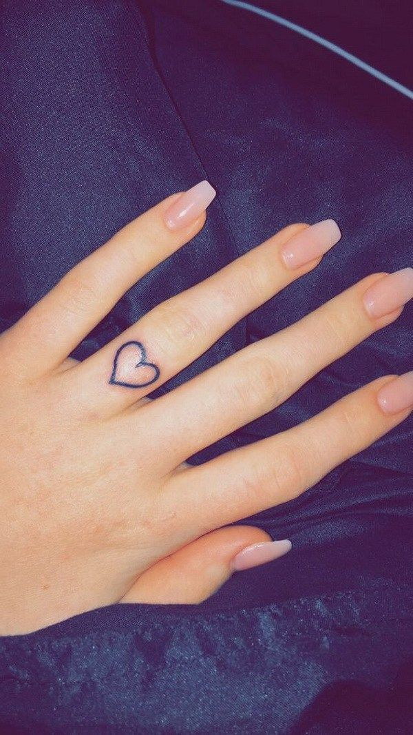 Wedding Band Ring Finger Heart Tattoo.