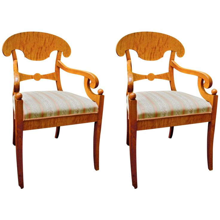 19th Century Antique Swedish Biedermeier Carver Chairs in Quilted Golden Birch