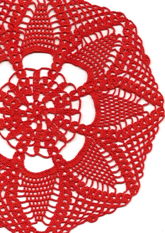 Large red crochet doily by faustapink900 on Etsy, £7.00