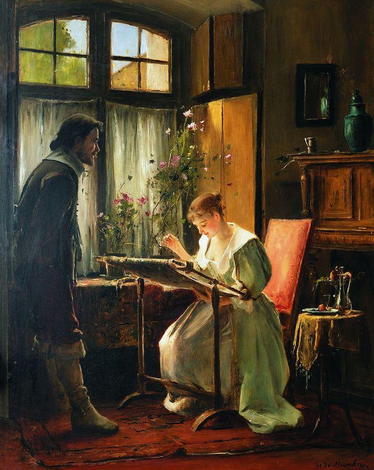 Mihaly von Munkacsy - Lady Seated At Her Needlework