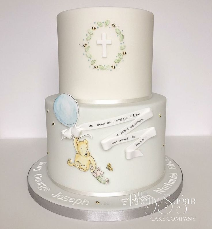 Pooh bear and piglet grand adventure christening cake