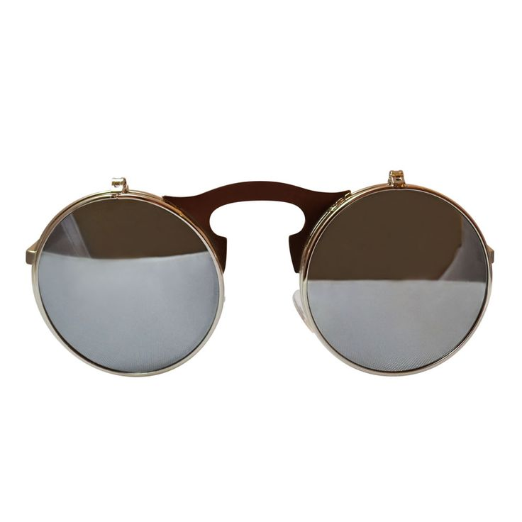 Round, silver-toned sunglasses with mirrored, flip-up lenses. Each lens flips up and down individually.