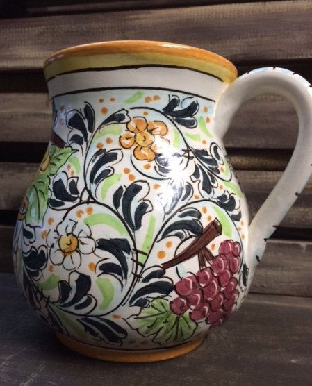 Vino pitcher with grapes. by Bluanticoceramics on Etsy