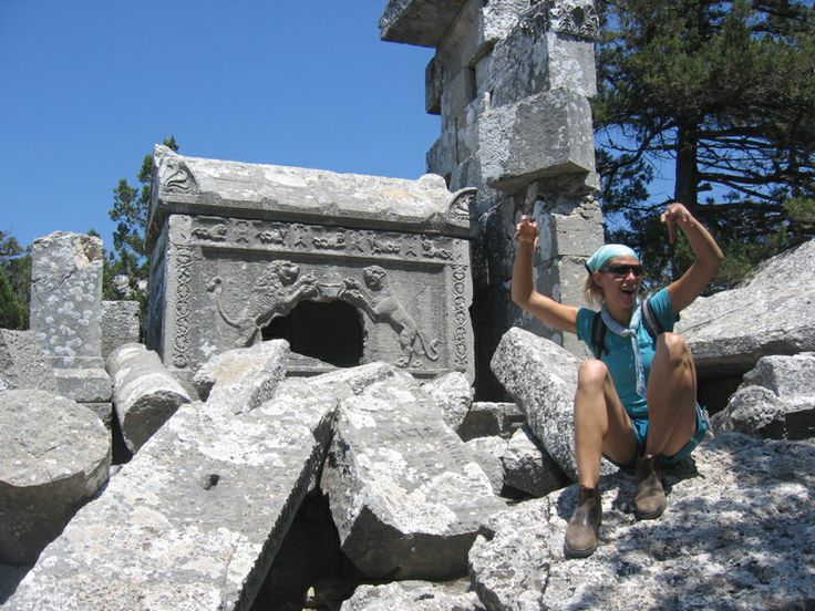 We scrambled over and around the labyrinth of broken sarcophagi and scree to find the Lion Sarcophagus at the top of Termessos in Turkey #yourboots