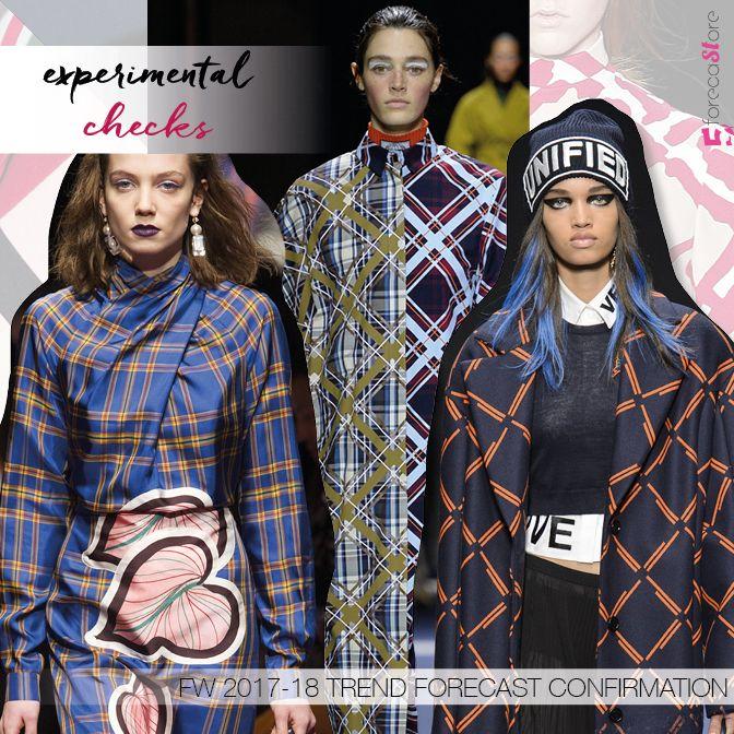 experimental checks, 5forecaStore AW 17-18 textile trend forecast confirmation, form left Marco De Vincenzo, Kenzo, Versace.
